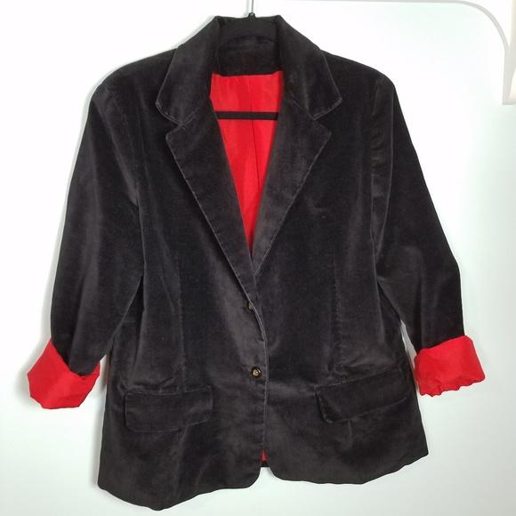 Vintage Jackets & Blazers - Vtg 90s Black Velvet Red Lined Blazer Jacket